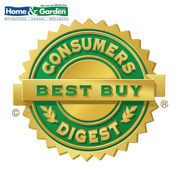 Illustratie: afbeelding van het schildje voor het predicaat Best Buy van Consumers Digest in 3d 2160x2160px. De Caldera Spa Martinique werd er meerdere malen mee onderscheiden.