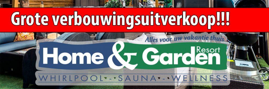 Illustratie: banner over de verbouwingsuitverkoop van Home and Garden Resort. Uitverkoop!